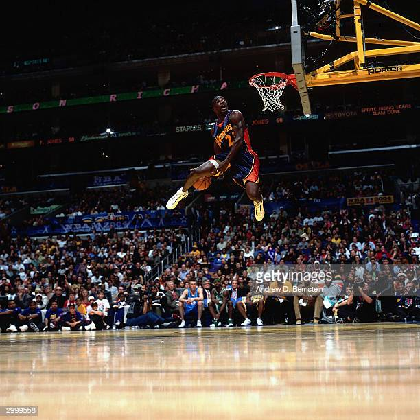 Jason Richardson of the Golden State Warriors goes for a dunk during the Sprite Rising Stars Slam Dunk Competition on February 14 2004 at the Staples...