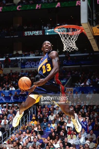 Jason Richardson of the Golden State Warriors goes for a dunk during the Sprite Rising Stars Slam Dunk Competition on February 14, 2004 at the...