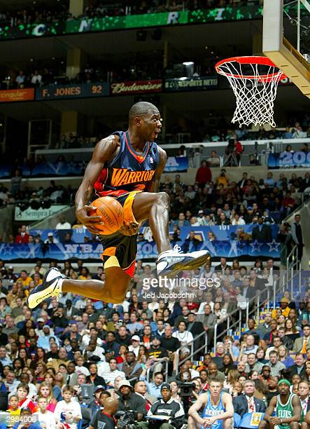 Jason Richardson of the Golden State Warriors goes up for a dunk in the first round during the Sprite Rising Stars Slam Dunk Competition part of the...