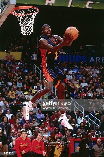 Jason Richardson of the Golden State Warriors goes up for the dunk during the Sprite Rising Stars Slam Dunk Contest on February 8 2003 at the Georgia...