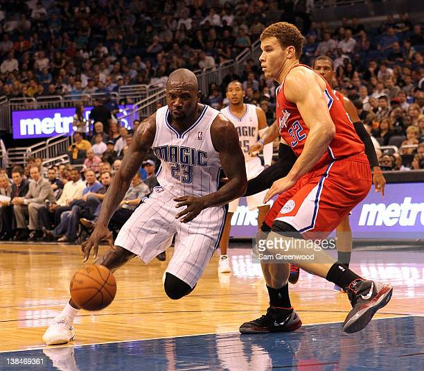 Jason Richardson of the Orlando Magic drives against Blake Griffin of the Los Angeles Clippers during the game at Amway Center on February 6 2012 in...