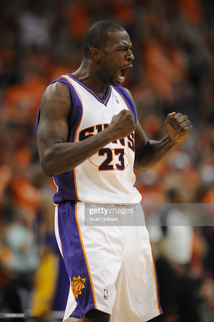 Jason Richardson #23 of the Phoenix Suns yells during a break in the action against the Los Angeles Lakers in Game Three of the Western Conference Finals during the 2010 NBA Playoffs at US Airways Center on May 23, 2010 in Phoenix, Arizona.