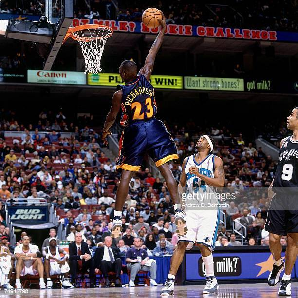 Jason Richardson Of The Rookies Soars For A Dunk Against Sophmores During 2002 Got