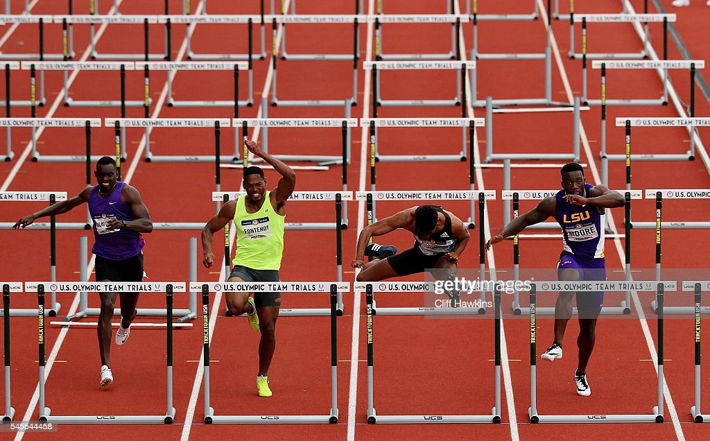 Jason Richardson runs in the first round of the Men's 110 Meter Hurdles during the 2016 U.S. Olympic Track & Field Team Trials at Hayward Field on July 8, 2016 in Eugene, Oregon.