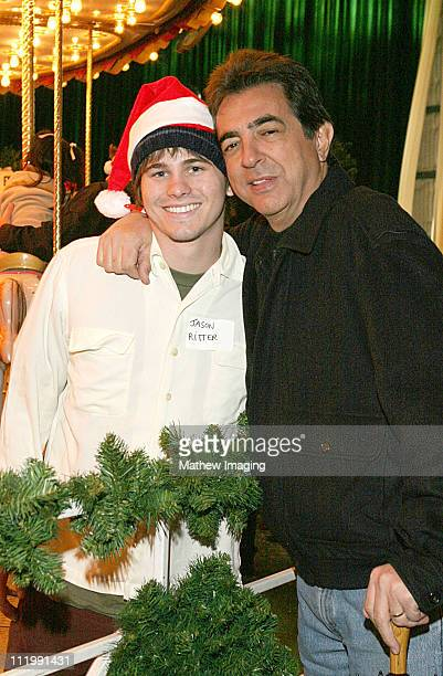 Jason Ritter and Joe Mantegna during Sony Pictures Entertainment Hosts 500 Needy Children for a Holiday Party at Sony Pictures Studios in Los Angeles...