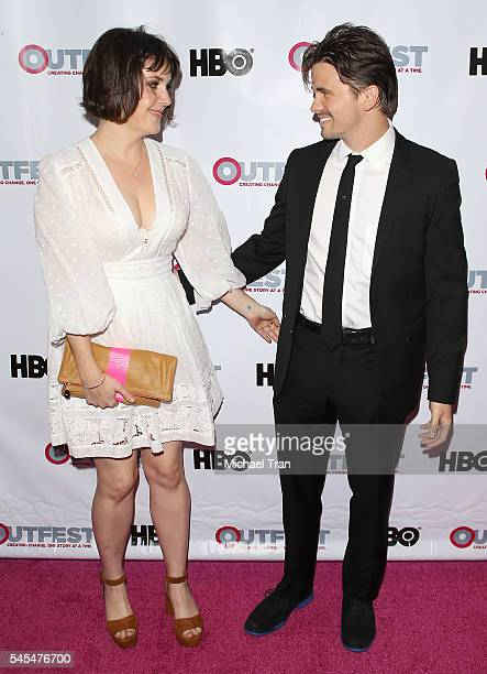 Jason Ritter and Melanie Lynskey arrive at the 2016 Outfest Los Angeles LGBT Film Festival Opening Night Gala Of The Intervention held at Orpheum...