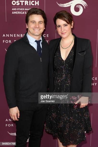 Jason Ritter and Melanie Lynskey attend the Annenberg Space for Photography's Not An Ostrich Exhibit Opening Party at the Annenberg Space For...