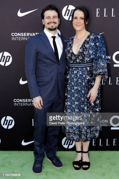 Jason Ritter and Melanie Lynskey attends the Conservation International ELLE Los Angeles Gala at Milk Studios on June 08 2019 in Hollywood California