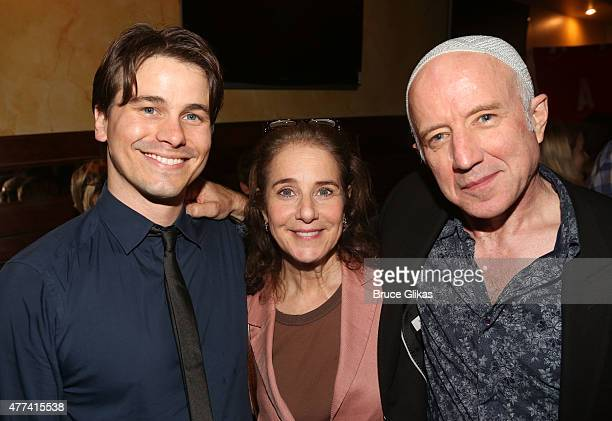 Jason Ritter Debra Winger and Arliss Howard pose at the Opening Night After Party for David Mamet's 'Ghost Stories The Shawl and Prarie Du Chien' at...