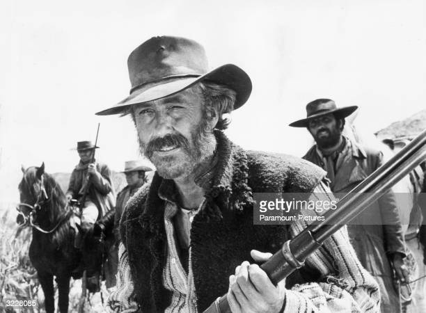 Jason Robards and others in a still from the film 'C'era una volta il West' or 'Once Upon a Time in the West' directed by Sergio Leone