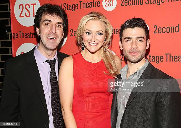 Jason Robert Brown Betsy Wolfe and Adam Kantor attend the after party for the offBroadway opening night of 'The Last Five Years' at HB Burger on...