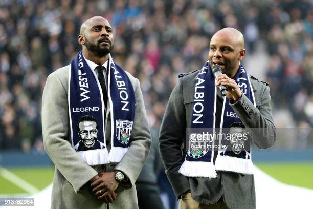 Jason Roberts nephew and former West Bromwich Albion players and John Regis son of Cyrille Regis for Cyrille Regis tribute during the Premier League...