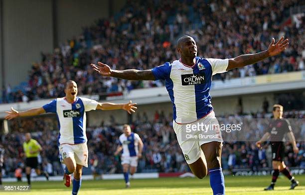 Jason Roberts of Blackburn Rovers celebrates after scoring the 22 equalising goal during the Barclays Premier League match between Blackburn Rovers...
