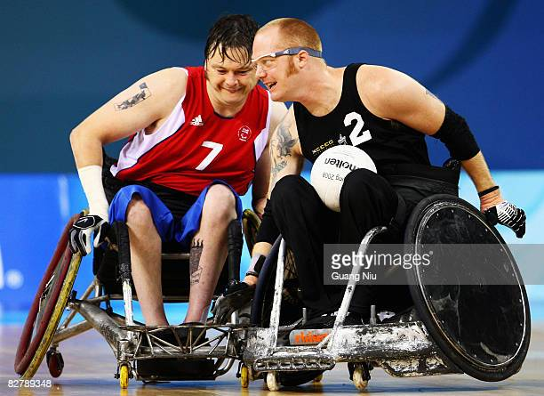 Jason Roberts of Great Britain and Curtis Palmer of New Zealand in the Wheelchair Rugby match between Great Britain and New Zealand at Beijing...