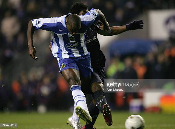 Jason Roberts of Wigan Athletic scores his second goal during the Carling Cup Quarter Final match between Wigan Athletic and Bolton Wanderers at the...