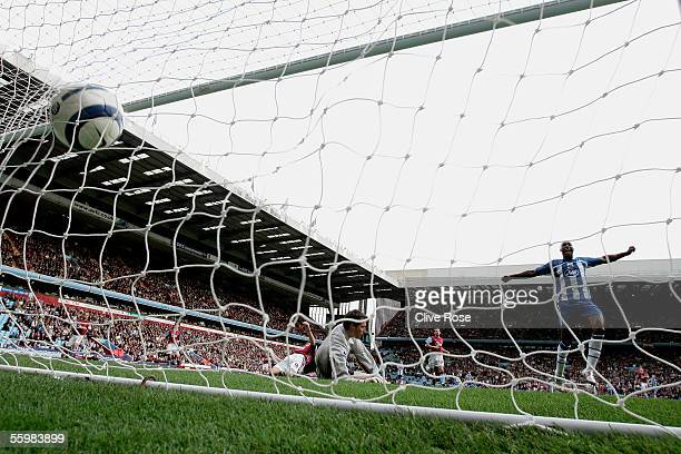 Jason Roberts of Wigan celebrates Aaron Huges own goal during the Barclays Premiership match between Aston Villa and Wigan Athletic at Villa Park on...