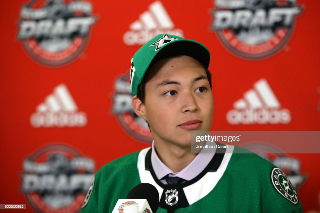 Jason Robertson is interviewed after being selected 39th overall by the Dallas Stars during the 2017 NHL Draft at the United Center on June 24, 2017 in Chicago, Illinois.