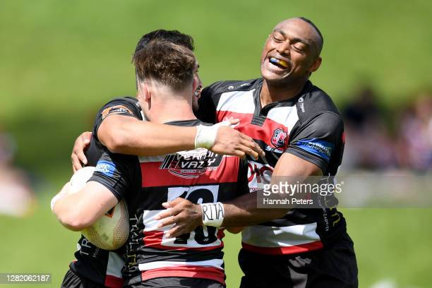 Jason Robertson of Counties Manukau celebrates after scoring a try during the round 7 Mitre 10 Cup match between Counties Manukau and Wellington at...