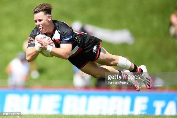 Jason Robertson of Counties Manukau dives over to score a try during the round 7 Mitre 10 Cup match between Counties Manukau and Wellington at...