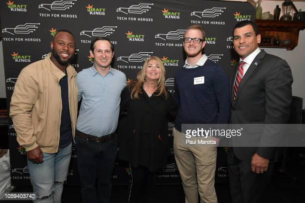 Jason Robins James White Katherine Webster Drew Greene and Francisco Urena attend DraftKings Hosts Veterans Appreciation Event at MJ O'Connors on...