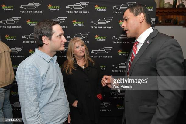Jason Robins Katherine Webster and Francisco Urena attend DraftKings Hosts Veterans Appreciation Event at MJ O'Connors on November 8 2018 in Boston...