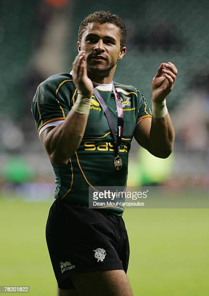Jason Robinson of the Barbarians applauds the fans following his final international appearance during the Gartmore Challenge match between the...