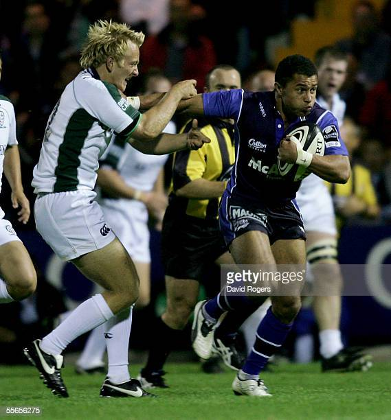 Jason Robinson the Sale Sharks wing holds off Shane Geraghty during the Guinness Premiership match between Sale Sharks and London Irish at Edgeley...