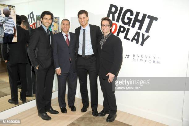 Jason Rogers Governor David Paterson Tim Morehouse and Matt Doyle attend RIGHT TO PLAY 'En Garde' Charity Cocktail Party at Barneys New York on May...