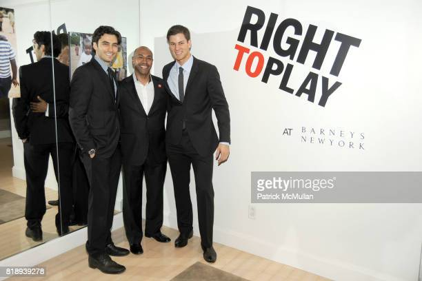 Jason Rogers Jeffrey Orridge and Tim Morehouse attend RIGHT TO PLAY 'En Garde' Charity Cocktail Party at Barneys New York on May 13 2010 in New York...