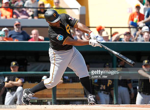 Jason Rogers of the Pittsburgh Pirates in action during the game against the Detroit Tigers at Joker Marchant Stadium on March 1 2016 in Lakeland...