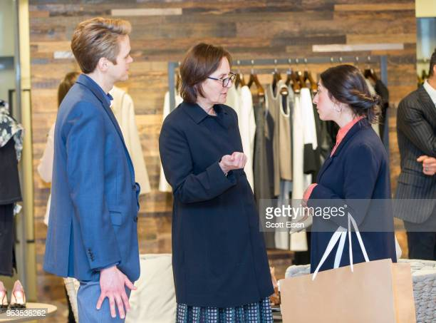 Jason Rouse from left Fotene Demoulas and Liana Mestas at Max Mara's Newbury St location as it celebrates Boston ICA's Watershed Gala on May 1 2018...
