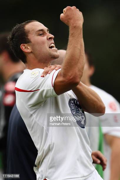 Jason Rowley of Waitakere celebrates after winning the ASB Premiership Final between Auckland City and Waitakere United at Trusts Stadium on April...