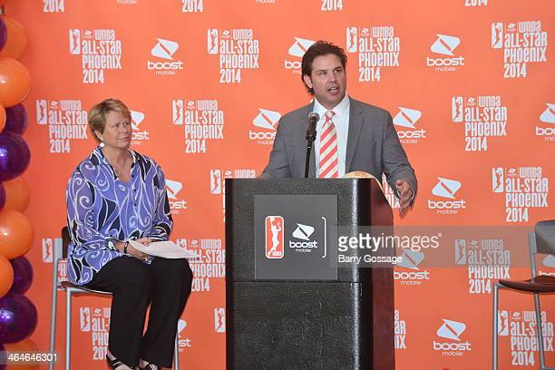 Jason Rowley President of the Phoenix Mercury addresses the media during the announcement of the Boost Mobile WNBA All Star 2014 Game at the US...