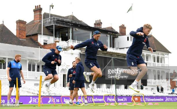 Jason Roy Alex Hales and Sam Billings of England warm up ahead of a nets session at Trent Bridge on June 18 2018 in Nottingham England