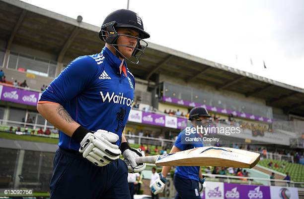 Jason Roy and James Vince of England walk out to bat ahead of the 1st One Day International match between Bangladesh and England at ShereBangla...
