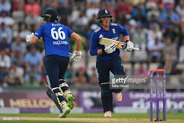 Jason Roy and Joe Root of England take another run during the 1st One Day International between England and Pakistan at the Ageas Bowl on August 24...