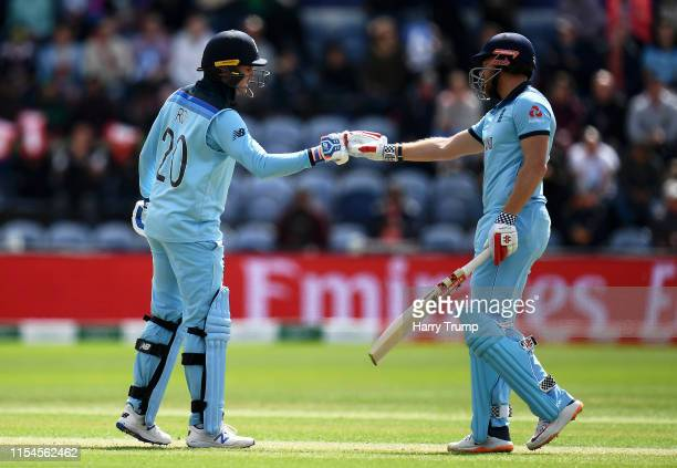 Jason Roy and Jonny Bairstow embrace after sharing a 50 partnership during the Group Stage match of the ICC Cricket World Cup 2019 between England...