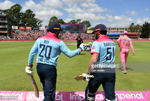 Jason Roy and Jonny Bairstow of England prepare to make their way out to bat during the 3rd One Day International match between England and South...