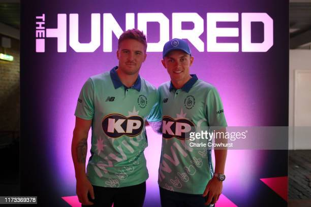 Jason Roy and Sam Curran of Oval Invincibles one of the eight new mens and womens teams that will be competing in new 100 ball cricket competition,...