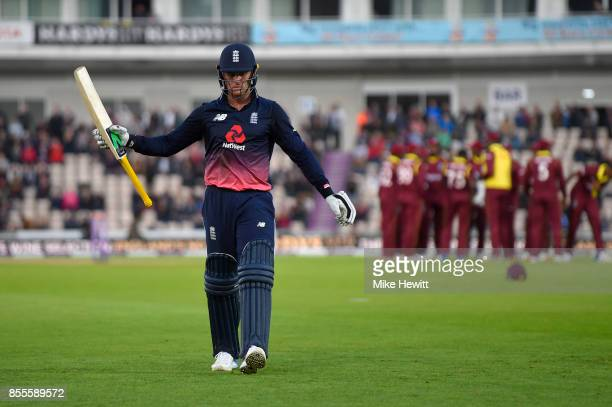 Jason Roy of England acknowledges the crowd's applause after being dismissed for 96 during the 5th Royal London One Day International between England...