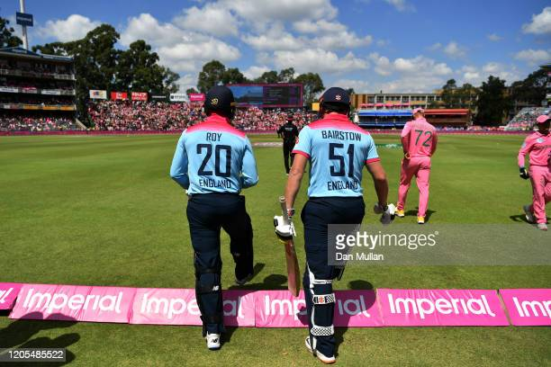 Jason Roy of England and Jonny Bairstow of England make their way out to open the batting during the 3rd One Day International match between South...
