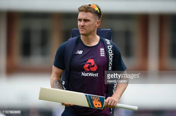 Jason Roy of England arrives for a nets session at Lords on June 24 2019 in London England