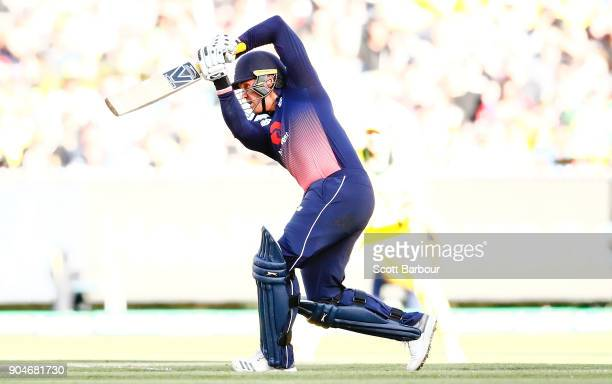 Jason Roy of England bats during game one of the One Day International Series between Australia and England at Melbourne Cricket Ground on January 14...
