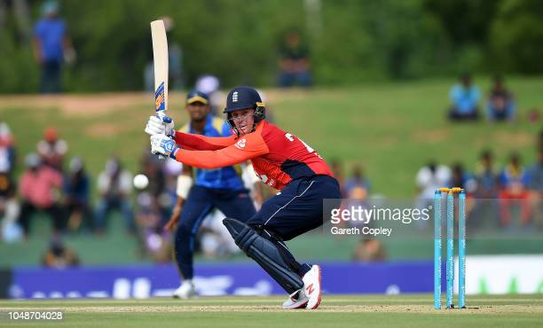 Jason Roy of England bats during the 1st One Day International match between Sri Lanka and England at Rangiri Dambulla International Stadium on...