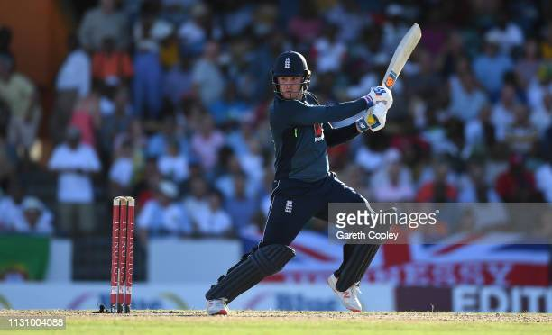 Jason Roy of England bats during the 1st One Day International match between the West Indies and England at Kensington Oval on February 20 2019 in...