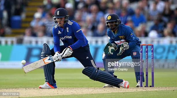 Jason Roy of England bats during the 2nd ODI Royal London OneDay match between England and Sri Lanka at Edgbaston on June 24 2016 in Birmingham...