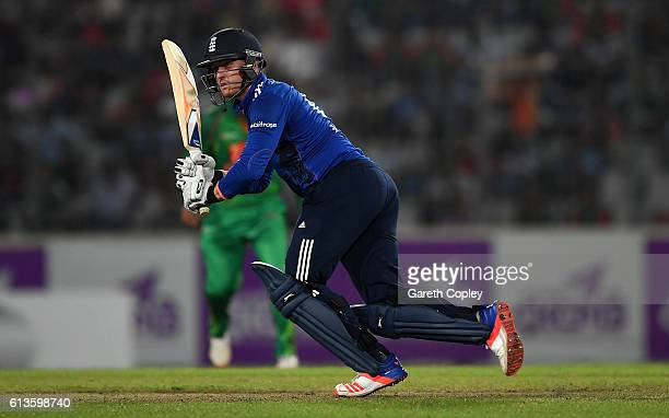 Jason Roy of England bats during the 2nd One Day International match between Bangladesh and England at ShereBangla National Cricket Stadium on...