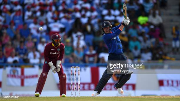 Jason Roy of England bats during the 2nd One Day International match between the West Indies and England at Sir Vivian Richards Cricket Ground on...