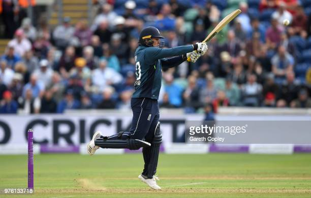 Jason Roy of England bats during the 2nd Royal London ODI between England and Australia at SWALEC Stadium on June 16 2018 in Cardiff Wales