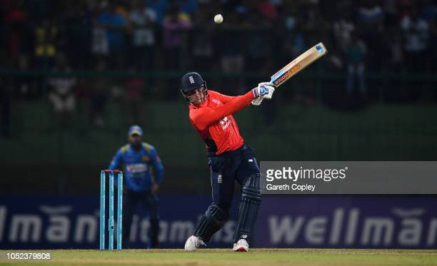 Jason Roy of England bats during the 3rd One Day International match between Sri Lanka and England at Pallekele Cricket Stadium on October 17 2018 in...